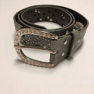 BKE Women's silver belt with diamond and stud SZ L